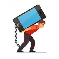 Homme accroché au smartphone